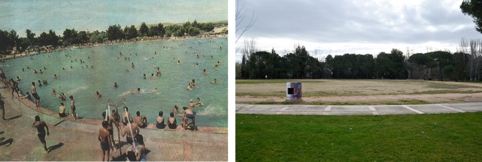 Imagen de Les Basses durante su época de esplendor como parque (izquierda) y su estado actual. Paeria / Cecília López
