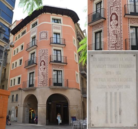 Detalle de la fachada de la casa dels Porxos. Cecília López