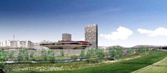 Imagen del proyecto de las torres detrás de La Llotja de Lleida. Imagen: Paeria