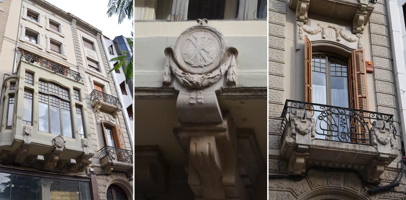 Detalle de la tribuna de la casa Xam-mar en la avenida Blondel de Lleida. Cecília López